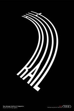 Cornering Lights / Modern Creative Bold Typography For Poster Design / Award-winning Typography For Advertising / D&AD Bold Typography, Creative Typography, Typographic Poster, Graphic Design Typography, Graphic Design Illustration, Creative Advertising, Advertising Design, Text Design, Book Design