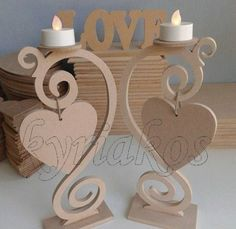 """Wooden candlesticks with decorative hearts made of MDF 6 """" at height. In the position of the heart, one-grain biblical and baptismal table embroidery can be entered. A beautiful idea to decorate your interior space but also a beautiful gift to a pro-k Cardboard Crafts, Wooden Crafts, Paper Crafts, Hobbies And Crafts, Diy And Crafts, Arts And Crafts, Wood Projects, Projects To Try, Diy Y Manualidades"""