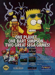 Simpsons - Bart vs the space mutans - Sega mega drive Genesis Nintendo retro video game ad