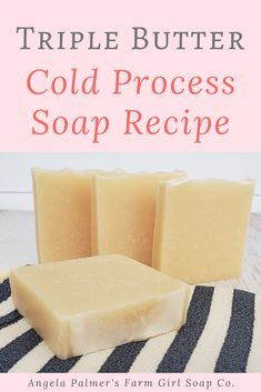 Looking for a cold process soap recipe with shea butter? This triple butter cold process soap recipe contains loads of it, plus rich cocoa butter and mango butter too. This highly moisturizing soap recipe creates a hard bar with lots of bubbly, creamy lather. Naturally scented with essential oil, this recipe produces a luxurious, premium bar. Ready to learn how to make this cold process soap recipe with shea butter? Pin to save then click over for the triple butter cold process soap recipe. Handmade Soap Recipes, Soap Making Recipes, Cold Press Soap Recipes, Shea Butter Soap, Cocoa Butter, Lotion Recipe, Goat Milk Soap, Cold Process Soap, Home Made Soap