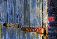 Fire hinge on blue door Allotment Shed, Mantle Art, Old Doors, View Image, Door Handles, Sheds, Blue, Photography, Painting