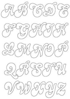 Sierlijk alfabet Maak je eigen naamslinger uit vilt aan de hand van deze letters. Kijk voor vilt eens op http://www.bijviltenzo.nl