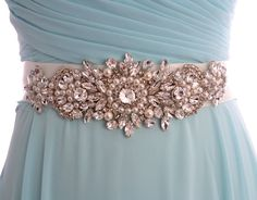 Vintage Style Rhinestone Crystals Ribbon Ivory Bridal Belt, Crystal Wedding Dresses Sash, Crystal Belt