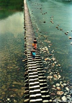 Asian stepping stone bridge. So interesting  ...  from zhoolong: