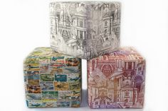 Custom made cube ottomans. Contact us at Design Art House for your custom furniture requirements. Ottomans, Custom Furniture, Home Art, Bookends, Design Art, Cube, Home Decor, Bespoke Furniture, Decoration Home