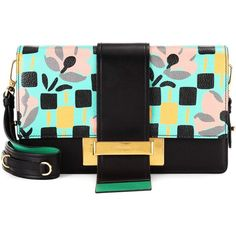 Prada Ribbon Printed Leather Shoulder Bag (51,480 MXN) ❤ liked on Polyvore featuring bags, handbags, shoulder bags, multicoloured, leather shoulder bag, shoulder bag purse, prada purses, green purse and real leather purses