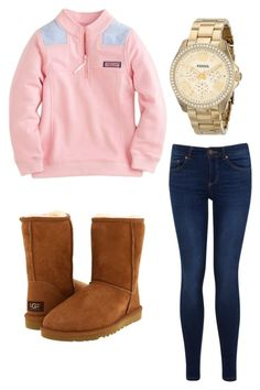 """Comfy Winter School Day"" by zoeantonpeat ❤ liked on Polyvore featuring Vineyard Vines, UGG Australia, FOSSIL, Miss Selfridge, preppy, Prep and southernprep"