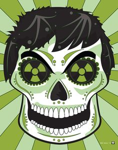 Hulk Sugar Skull Print inspired by the character from the Marvel comics and movies    You get:  A high quality 11 x 14 print, signed by artist  Printed on