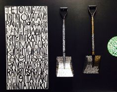 Painted Garden tools and canvas of the 12 heavens by Tracey Tawhiao Sculpture Ideas, Sculpture Art, Sculptures, Atelier D Art, White Pages, Heavens, Thing 1 Thing 2, Garden Tools, Exploring