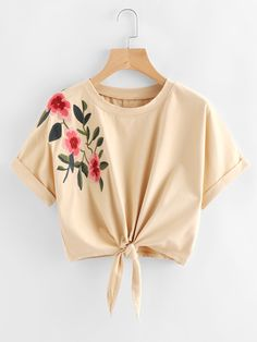 SheIn offers Knot Front Cuffed Embroidered Tee & more to fit your fashionable needs. Girls Fashion Clothes, Teen Fashion Outfits, Look Fashion, Girl Fashion, Trendy Fashion, Crop Top Outfits, Cute Casual Outfits, Pretty Outfits, Stylish Outfits