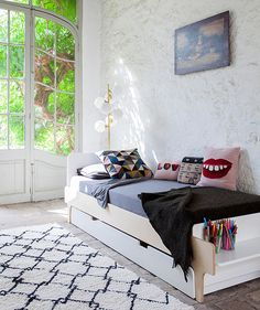 Oeuf NYC River Bed, Trundle, and Decor. Oeufnyc modern kid furniture. oeufnyc.com