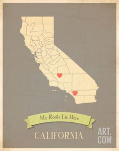 My Roots California State Map - clay Art Print by Rebecca Peragine at Art.com