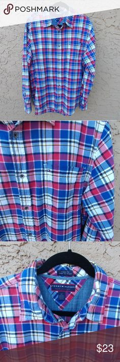 """Tommy Hilfiger plaid shirt for men Premium denim, button down shirt. Very good condition. 100% cotton. Measures:  Shoulders 19""""  Bust flat 23"""" Sleeves 26.5"""" Tommy Hilfiger Shirts Casual Button Down Shirts"""