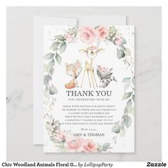 Chic Woodland Animals Floral Greenery Baby Shower Thank You Card Baby Shower Thank You Cards, Custom Thank You Cards, Woodland Animals, Forest Animals, Woodland Forest, Blush Flowers, Lavender Bouquet, Thank You Messages, Birthday Balloons