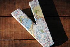 "Vintage Map Covered Letter - ""V"" - Home Decor, East Coast, 3 Dimensional, Free Standing"