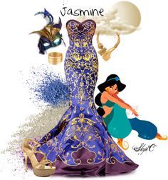"""Jasmine Inspired Outfit"" by rubytyra on Polyvore. I love how they used the colors from the movie cover. Definitely a dress I'll have to make."