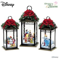 Join some of Disney's most beloved characters as they celebrate the wonder of the season in a winter wonderland of freshly fallen snow and twinkling starlight to create the most perfect Disney holiday ever. Now, you're invited to turn your holiday festivi Disney Christmas Decorations, Disney Home Decor, Christmas Lanterns, Christmas Party Games, Christmas Crafts, Christmas Ornaments, Xmas, Disney Magie, Disney Snowglobes