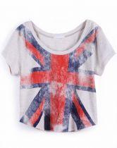 Light Grey Short Sleeve Union Jack Print T-Shirt $27.74
