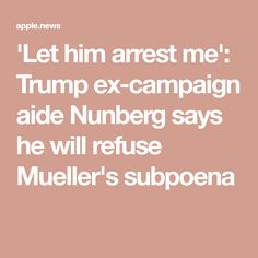 'Let him arrest me': Trump ex-campaign aide Nunberg says he will refuse Mueller's subpoena — Fox News Grand Jury, Campaign, Fox, Let It Be, Sayings, News, Lyrics, Word Of Wisdom, Foxes