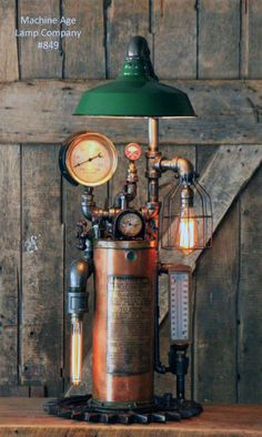 Steampunk Light Industrial Machine Age Steam Gauge Fire Extinguisher Lamp Gear