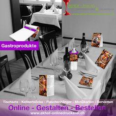 Jetzt neue Gastroprodukte gestalten und bestellen unter:   www.akhof-onlinedruckerei.ch   #gastronomie #restaurant #imbiss #thakeaway #tischset #menü #menükarte #servitten #onlinedesign #onlineprint #onlineshop #onlinedruckerei #akhofprint #beiz #tischaufsteller Flyer, Restaurant, Design, Fine Dining, Snack Station, Flasks, Printing, Restaurants, Design Comics