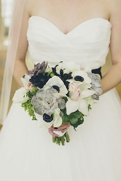 Sophisticated bridal bouquet with anemones and succulents. Love the muted tones. Laurel Designs, San Francisco