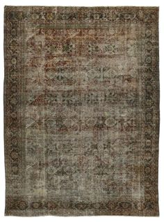 Distressed Vintage Persian Silk Tabriz Rug With Modern Industrial Style