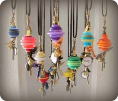 Button Stacks Necklaces, love this idea.