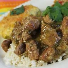 Pork Stew in Green Salsa (Guisado de Puerco con Tomatillos). Leave out the flour (use some paleo starch to thicken the stew) and serve with cauli rice or squash. Perfect recipe for my NM Hatch chilies !!