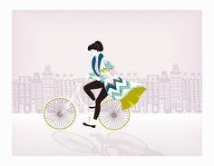 Amsterdam Prints Dutch Art, Bike Cycling Art in city, Lady riding bike Wall art, Amsterdam Cycling illustration, Gift idea girlfriend wife