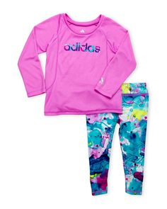 Adidas (Newborn Girls) Two-Piece Active Top & Printed Leggings Set