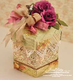 Hexagon Gift Box designed by Becca Feeken using JustRite Scrolled Vine background stamp