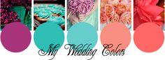 My wedding colors; plum, aqua, peach & coral