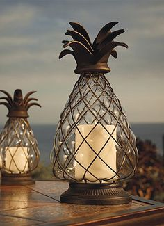Pineapple Hurricane Lanterns are great for the backyard!