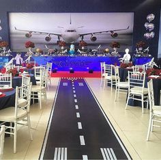 Use a roll of craft paper from Lowe's to create a runway Aviation Wedding, Aviation Theme, Airplane Baby Shower, Airplane Party, Airplane Decor, Planes Birthday, Planes Party, Grad Parties, 1st Birthday Parties