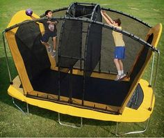 Astronaut Trampolines-The Spaceball Trampoline is a game in which two players on opposite sides of a net try to throw a ball through a hole and hit the ground of the opponents play area.