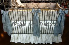 Keagan 4 pc. Platinum & Ivory, you can choose the color of the large bows. We offer Pink or Slate blue.  ♥