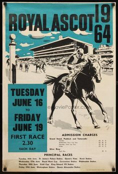 ROYAL ASCOT 1964 English horse race poster great artwork of race horse & jockey! English Horse Racing, Horse Racing Books, Vintage Advertisements, Vintage Ads, Vintage Posters, Courses Hippiques, Horse Posters, Equestrian Decor, Racing Events