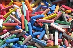 pile of colorful chalk Homemade Sidewalk Chalk, Chalk Photos, Colored Chalk, Gypsum, Cement, Creativity, Clay, Colorful