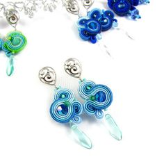 Spring earrings  Rainbow sun catchers blue azure by byPiLLowDesign, $20.00