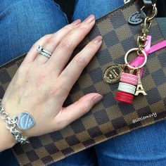 Louis Vuitton Neverfull Clutch in Damier Ebene .. Laduree Bag Charm .. Tiffany and Co Heart Tag Bracelet
