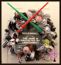 Stars Wars Wreath Star Wars Welcome Wreath Light by SugarTreeDecor