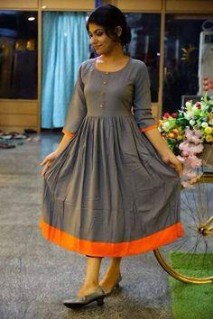 Simple Frock Design, Simple Kurti Designs, Long Dress Design, Dress Neck Designs, Kurta Designs Women, Stylish Dress Designs, Designs For Dresses, Stylish Dresses, Blouse Designs