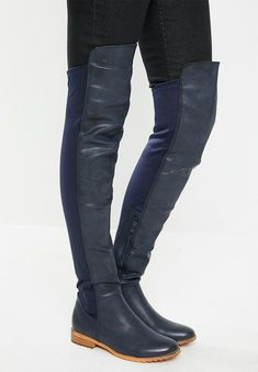 Pull-on feature with side zip closure. Krabi, Black Boots, Riding Boots, Two By Two, Contrast, Footwear, Navy, Heels, How To Wear