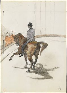Henri de Toulouse-Lautrec (French, 1864–1901). At the Circus: The Spanish Walk (Au Cirque: Le Pas espagnol), 1899. The Metropolitan Museum of Art, New York. Robert Lehman Collection, 1975 (1975.1.731) | The grand master of urban entertainments, Henri de Toulouse-Lautrec made many paintings and drawings on the circus theme in the late 1880s and 1890s, just as his popularity as a commercial artist soared. #horses