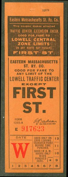 Streetcar transfer from Eastern Massachusetts Street Rwy. Company (Lowell, Massachusetts) (date unknown)