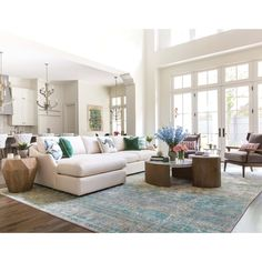Spacious Living Room, Living Room Kitchen, Rugs In Living Room, Living Room Designs, Living Room Decor, Open Living Rooms, Living Room Open Concept, Ivory Living Room, Open Concept Great Room