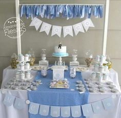50 Ideas for baby boy baptism desserts first communion Baby Boy Baptism, Boy Christening, Baptism Party, Baby Party, Baby Shower Parties, Baptism Dessert Table, Baptism Desserts, Happy Birthday B, Birthday Parties