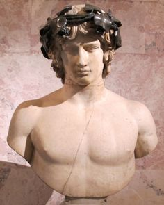 FCBTC / Bust of the emperor Hadrian's lover Antinous (d. 130 CE), depicted as Dionysus.  Now in the Hermitage.