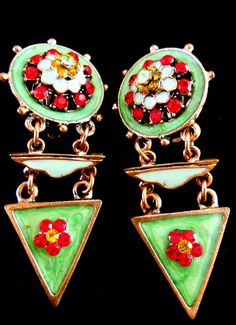 Earrings Green Enamel Red Rhinestone Vintage by RenaissanceFair $26.00. These are wonderful. The colors are really FAB!
